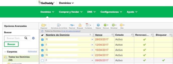 Listado de dominios