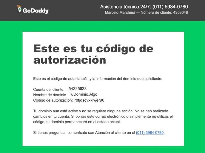 Código de autorización en el mail