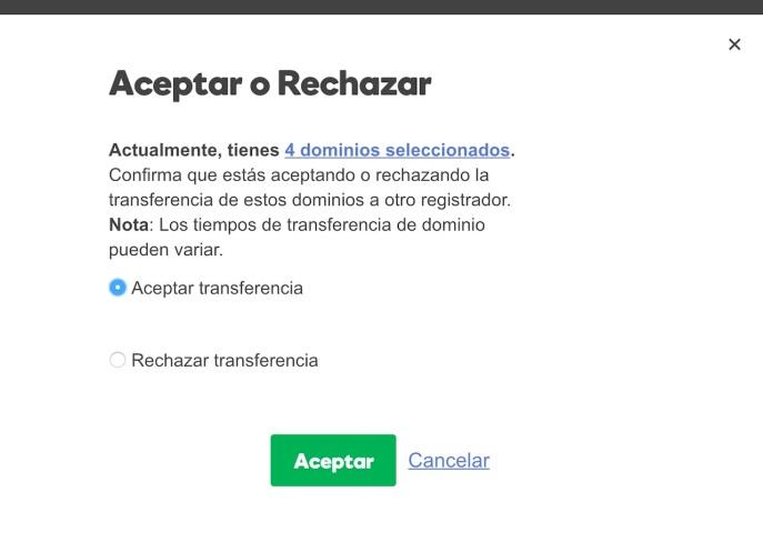 Aceptar Transferencia
